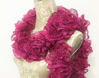 Crochet Ruffle Scarf, Pink Scarf, Crochet Scarf, Sashay Scarf, Frilly Scarf, Fashion Scarf, Handmade Scarf, Ready to ship, Gift for her