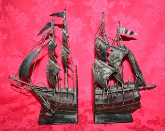 Metal Ship Bookends