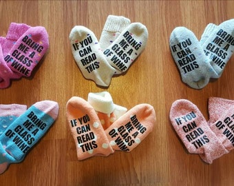 If You Can Read This Bring Me a Glass of Wine socks - wine socks - Bring Me A Beer - gift - birthday - Christmas - funny socks - wine - beer