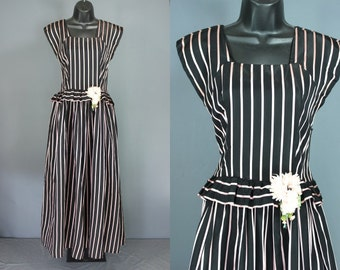 40's Party Dress......Late 40's Black And Pink Striped Taffeta Party Dress With Peplum