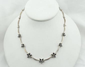 "Vintage 16"" Sterling Silver and Faceted Black Glass Flower Necklace   #BLACK-SPC3"