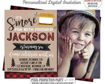 S'more Birthday Invitation S'more Birthday Invitation S'more Birthday Party Rustic Outdoor Winter Party S'more Outdoor Bonfire Invitation