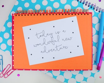 Positive Mantra Quote Print A5/A4   Inspirational Polka Dot Postcard A6   Today Is A Wonderful New Adventure   Office   Nursery   Home Decor