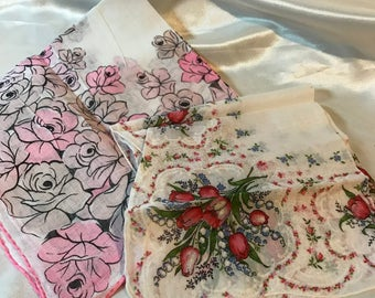 5 Lovely, Vintage Handkerchiefs, Great condition