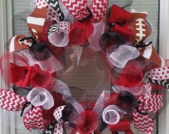SALE Football Wreath, Deco Mesh Wreath, Mesh Wreath, Ribbon Wreath, Red Black White Wreath, Basketball Wreath
