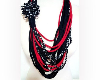 Black Red Polka dot  Scarf Necklace Loop Necklace Noodle Scarf Polka Dots Fabric Necklace Summer Fashion statement necklace Unique jewelry