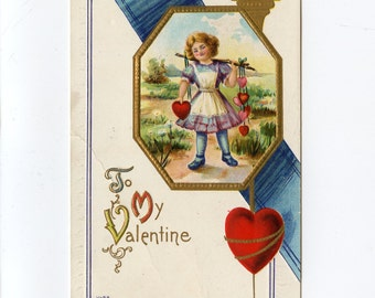 Vintage Valentine's Day Postcard Girl Carrying Hearts on Stick Gold Frame & Trim Published by Edward Nash Used Windham Depot NH DPO - 7616Pa