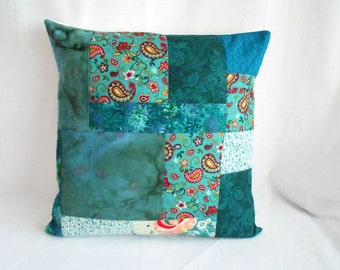 """patchwork cushion cover, scatter cushion, throw accent pillow, quilted pillow slip, jade green, 16 x 16"""""""