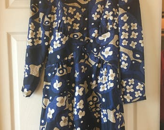 Women's Hauliuetrigere French Vintage Blue Floral Silk Dress XS