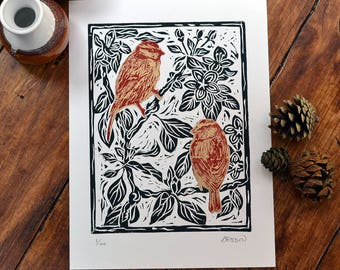 Blue tits & apple blossom - linocut print, black/red/gold, hand pulled, limited edition, British birds and gardens