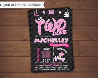Minnie Mouse Invitation, Pink Minnie Mouse Birthday Invitation