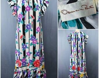 vintage 90s Oscar De La Renta cotton stripes and floral print gown vint. 1990s ruffle maxi house dress vtg 90's long striped tunic