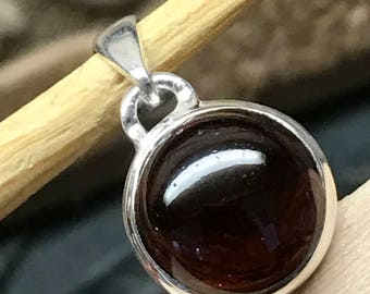 Natural Red Ruby Garnet 925 Solid Sterling Silver Solitaire Cabochan Pendant 20mm