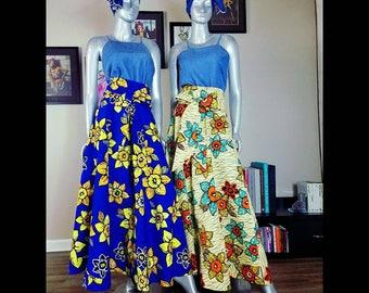 Maxi Skirt | Ankara Wax Print ADARA MAXI SKIRT with Pockets | Kitenge Maxi Skirt