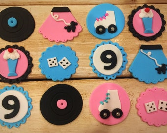 50's Theme Fondant Cupcake Toppers