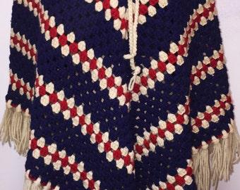 Vintage Red/White/Blue Knit Fringe Poncho