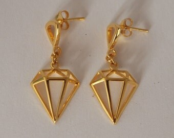 Small Geometric  24K Gold Vermeil ( Gold Over Sterling Silver) Stud Earrings