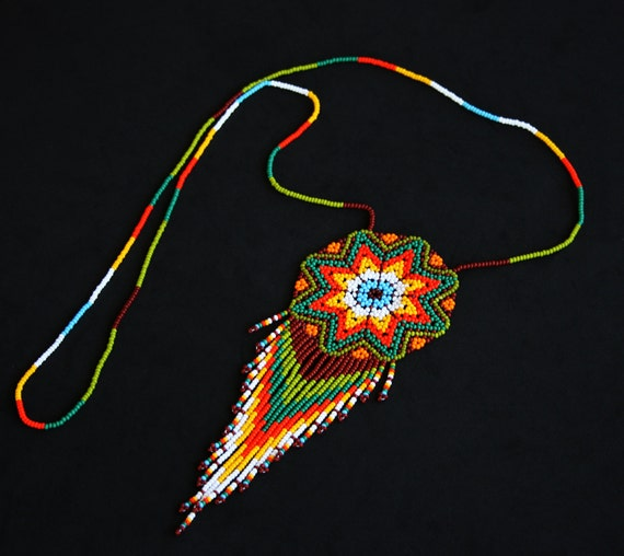 Native American Medallion Necklace, Huichol Sun Necklace, Beaded Necklace, Starburst Necklace, Morning Star Necklace, Mexican Bead Jewelry
