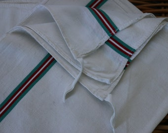 Pair of French Vintage Traditional Red and Green  stripe Linen tea towels. French Vintage Linen. French Vintage Chic