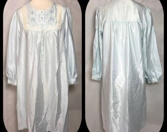 Barbizon Pale Blue Nightgown with Embroidered and Lace Trimmed Square Yoke in Cuddle Touch Satin - Size Medium