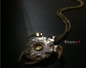 Polynesian tiny Turtle handmade metalmix Necklace