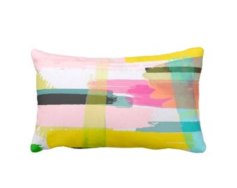 "SALE Bright Abstract Throw Pillow, Colorful Modern Art Print 13 x 21"" Lumbar Pillows, Multicolored"