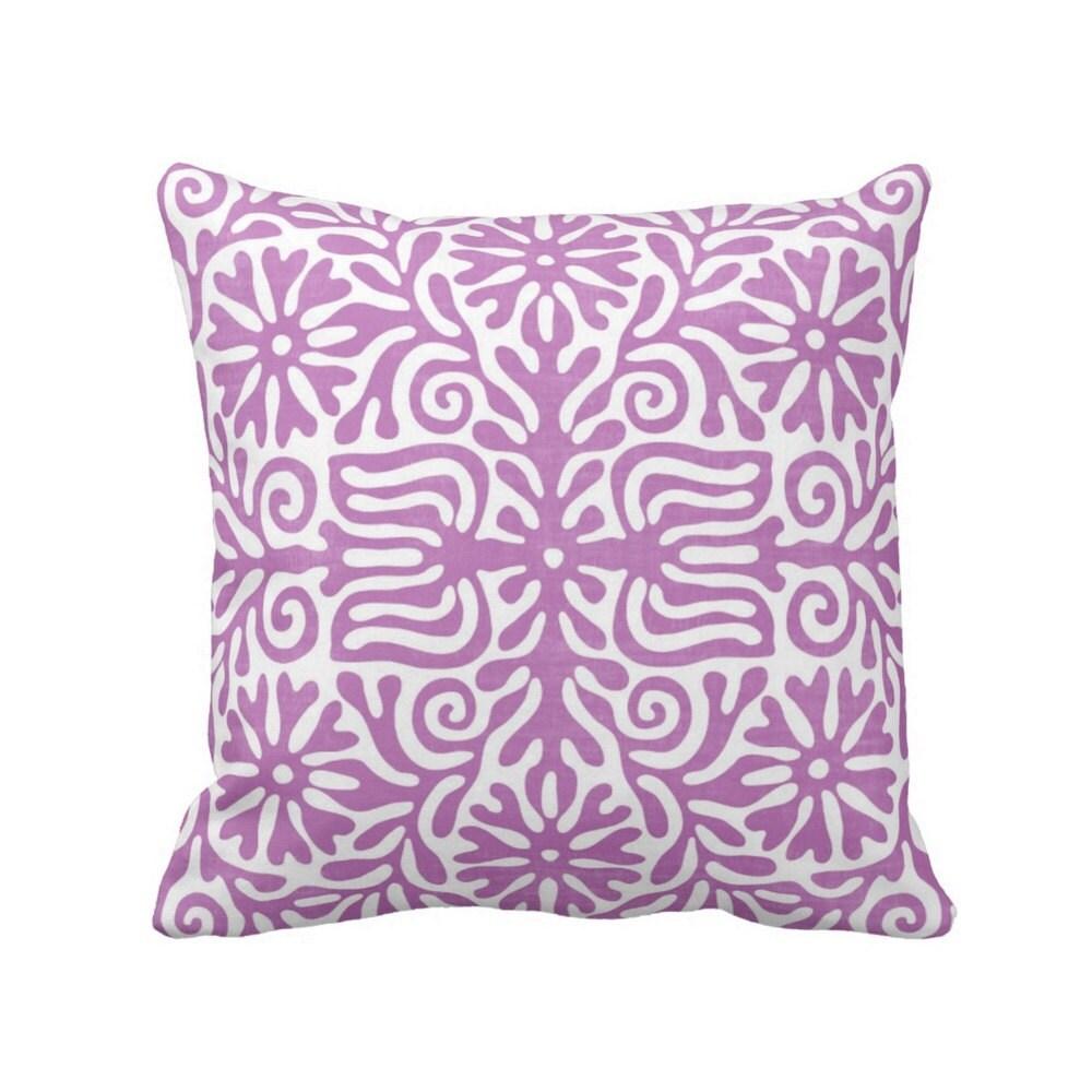 Folk print throw pillow amethyst white boho printed for Amethyst throw pillows