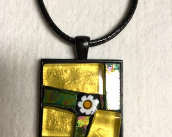 Stained-glass mosaic abstract square pendant