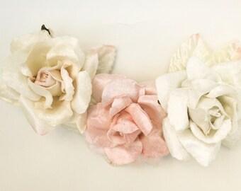 Velvet Rose. Millinery roses. vintage roses. hat roses. artificial roses.