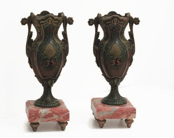 French Art Nouveau, Vases, marble and spelter,boudoir chic,urns,home decor