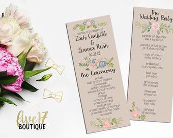 Rustic Floral Wedding Program | Personalized | Digital