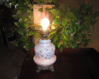 Vintage Electric  Hurricane Table Lamp Base, Gone with the Wind Lamp, Country Decor, Shabby Chic, Farmhouse