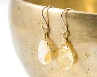 November Birthstone - Dainty Citrine Earrings - Citrine Earrings - Small Citrine Earrings - November Crystal - Crystal Earrings - Yellow