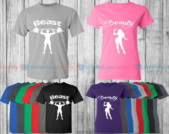 Beast & Beauty - Matching Couple Shirts - His and Her T-Shirts - Love Tees