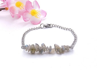 Healing crystals and stones bracelet, labradorite jewelry, stainless steel chain bracelet, statement jewelry, statement silver bracelet shi