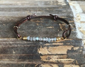 Gemstone bracelet - leather bracelet - adjustable bracelet - bohemian bracelet - labradorite bracelet - beaded bracelet