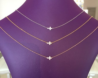 cross necklace with cubic zirconia and real sterling silver looks like real diamonds a price to grab