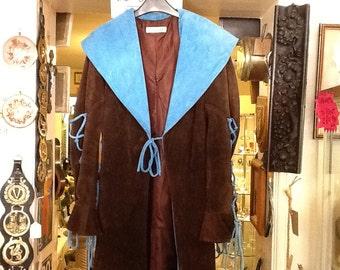 Vintage designer brown and turquoise blue suede coat