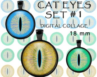 Cat eyes 18 mm set #1 printable round images for cat jewelry pendants, taxidermy glass eyes, bottle cap images digital collage sheet