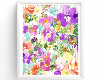 Printable Floral Art , Floral Download, watercolour art. print
