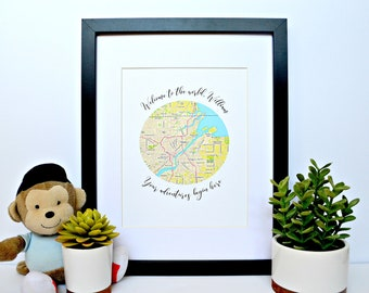 Neutral Nursery Decor- Travel Themed Nursery, Map Themed Nursery, Globe Themed Nursery, Welcome to the World Party, Baby Shower Gift, Map