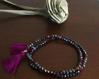 Set of two purple iridescent Multicolor Boho crystal bead bracelets stretch bracelet Handmade elastic bracelet strand bracelet tassel