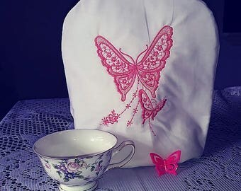 Coral Butterflies embroidered  tea cozie handmade pinklady cottage