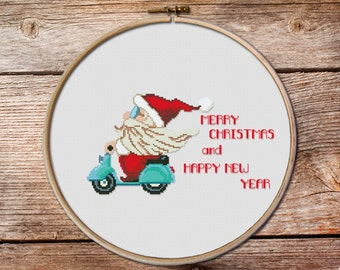 cross stitch christmas ornaments, modern Christmas cross stitch, Merry Christmas, Santa cross stitch pattern,Noel cross stitch