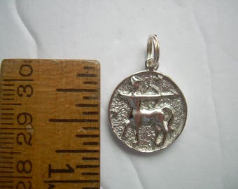 STERLING vintage SAGITTARIUS PENDANT/charm The Archer Zodiac Horoscope sign for November 22 – December 21. Silver .925  Weighs 3.3 gm