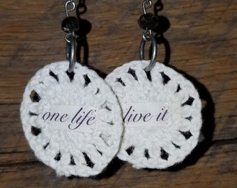 Festival Accessories Inspirational Quote One Life Jewelry White Lace Crochet Earrings Dangle Hippie Earrings Circle Earrings