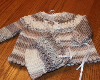 Baby Sweater Set - Hand Knit Baby Sweater Set - Baby Sweater and Bonnet - Knit Baby Sweater Set - Knitted Baby Sweater