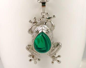 Malachite frog necklace, frog necklace, necklace frog, frog pendant, pendant frog, malachite frog pendant