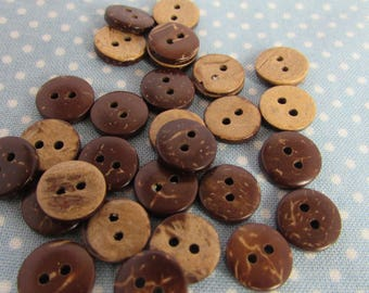 Pack of 10 10mm Coconut Shell Buttons
