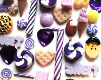 10 or 20 pieces purple shortbread sweet flake choco candy mix, kawaii peppermint ice cream cabochons miniature faux food flatback decoden UK